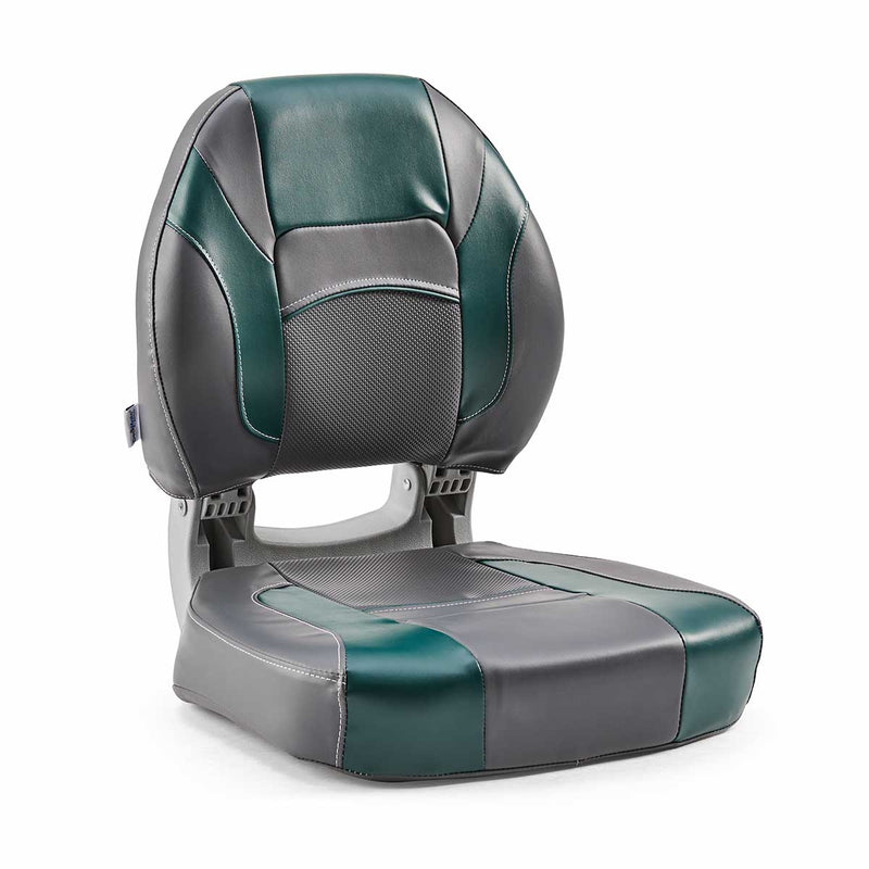 DeckMate Economy Center Hinge Cushion Fishing Boat Seat Charcoal Green Marine Grade Vinyl for sale