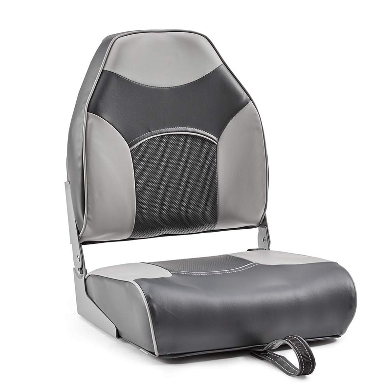 DeckMate Economy High Back Fishing Boat Seat Charcoal Gray Marine Grade Vinyl for sale