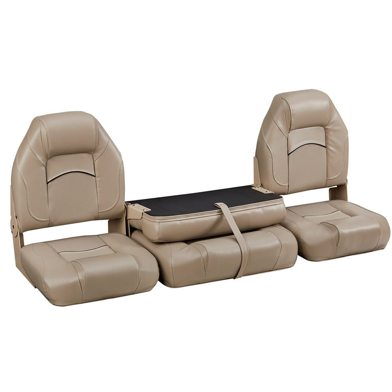 DeckMate Bass Boat Folding Bench Set with wide Jump Seat closed