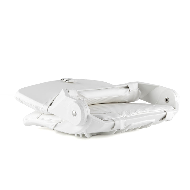 DeckMate Compact Folding Cushion Fishing Boat Seat White Marine Grade Vinyl for sale