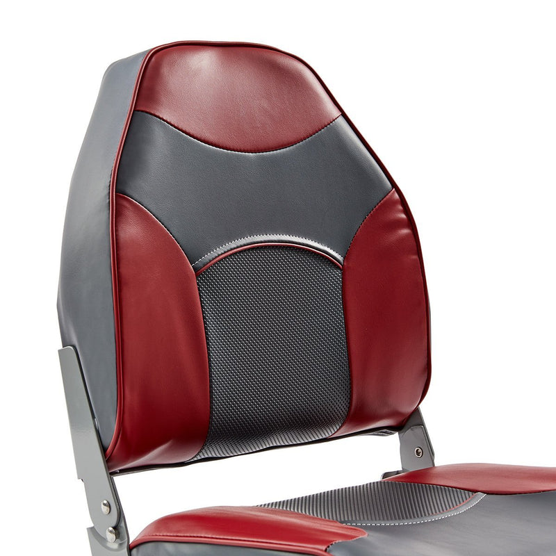 DeckMate Economy High Back Fishing Boat Seat Charcoal Red Marine Grade Vinyl for sale