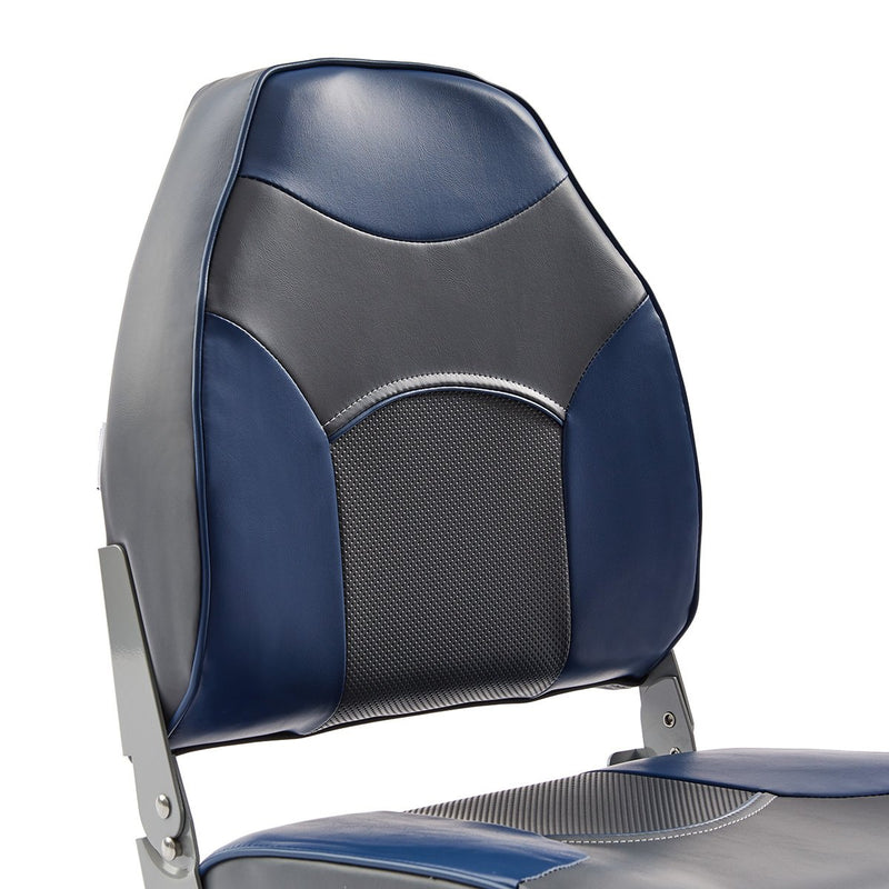 DeckMate Economy High Back Fishing Boat Seat Charcoal Blue Marine Grade Vinyl for sale