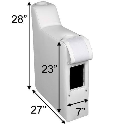 Pontoon seat arm size (right arm rest shown)