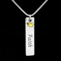 Personalised Birth Stone Name Plate Pendant.