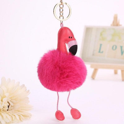 Porte Clef Pompon Rose Flamant Rose