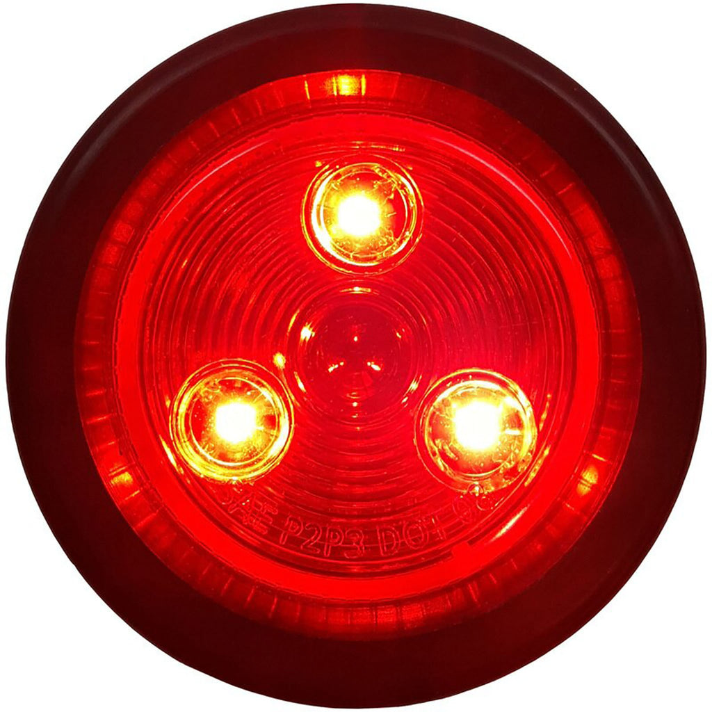 "2"" Red/Red Round Light w/ Pigtail and Grommet"