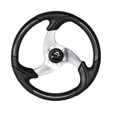 "14"" Black Bass Boat Steering Wheel"