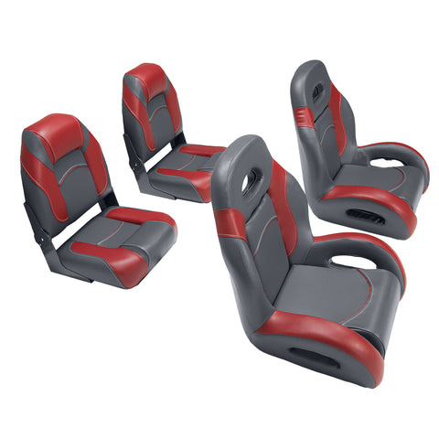 fish and ski boat seats in charcoal/red