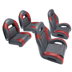 Fish and ski bass boat seats in charcoal/red
