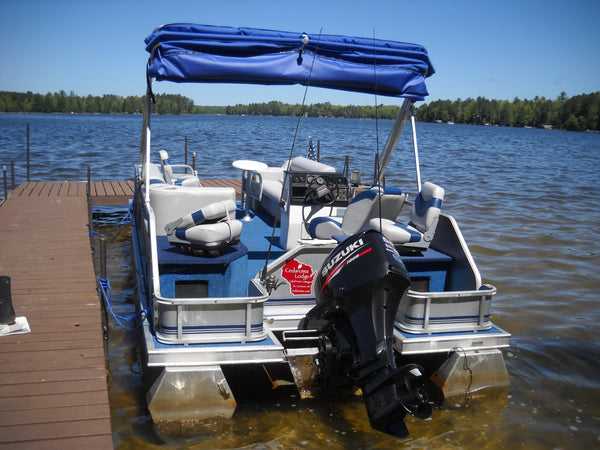 Great shot of the new replacement pontoon bimini top