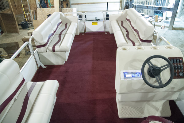 Rebuilt pontoon boat with replacement pontoon boat seats and flooring from PontoonStuff