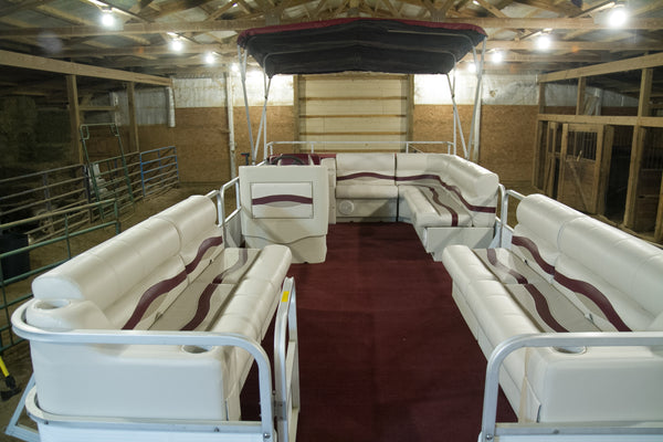 DeckMate Premium pontoon boat furniture in Ivory, Burgundy & Tan.