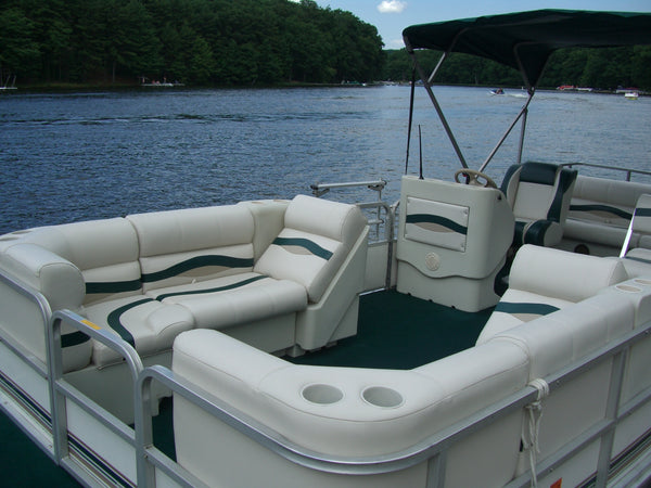 Pontoon boat restoration with new boat seats