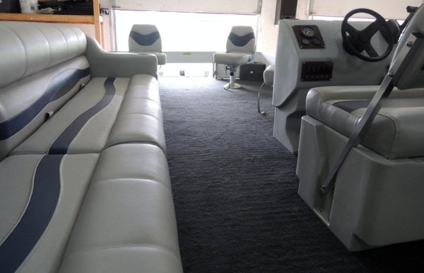 Beautiful image of our Gray, Blue & Charcoal Premium Pontoon Seats