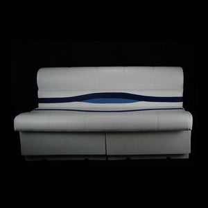 "Clearance Premium 55"" Pontoon Boat Seat White/Blue/Light Blue With ""NEW BASE"" CL-2100"