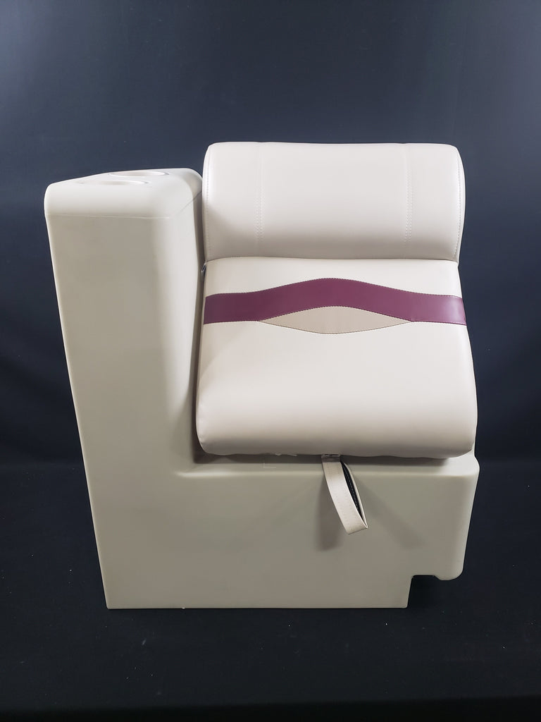 CLEARANCE ITEM CL-206 | Ivory, Burgundy, and Tan Left Lean Back Pontoon Boat Seats KLLB-302