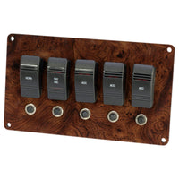 Burl Wood Small Pontoon Boat Switch Panel