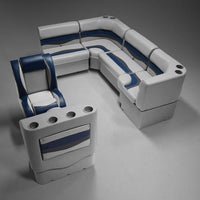 Gray, Blue & Charcoal Pontoon Boat Seats