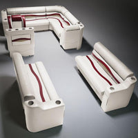 Ivory, Burgundy & Tan Pontoon Boat Seats