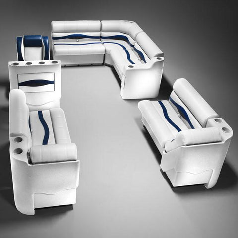 Gray, Blue & Charcoal Pontoon Boat Seat