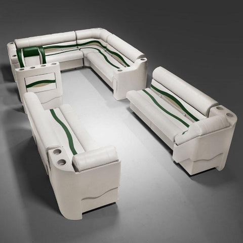 Ivory, Green & Tan Pontoon Boat Seats