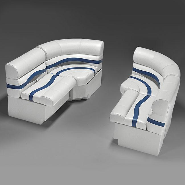 Gray, Blue & Tan Pontoon Boat Seats