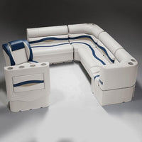 Ivory, Blue & Tan Pontoon Boat Seats