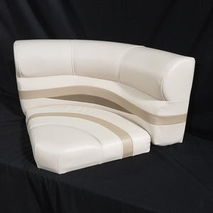"Premium 30"" Bow Radius Pontoon Seat with NEW base in Ivory, Tan and Beige - Clearance Item CL-1221"