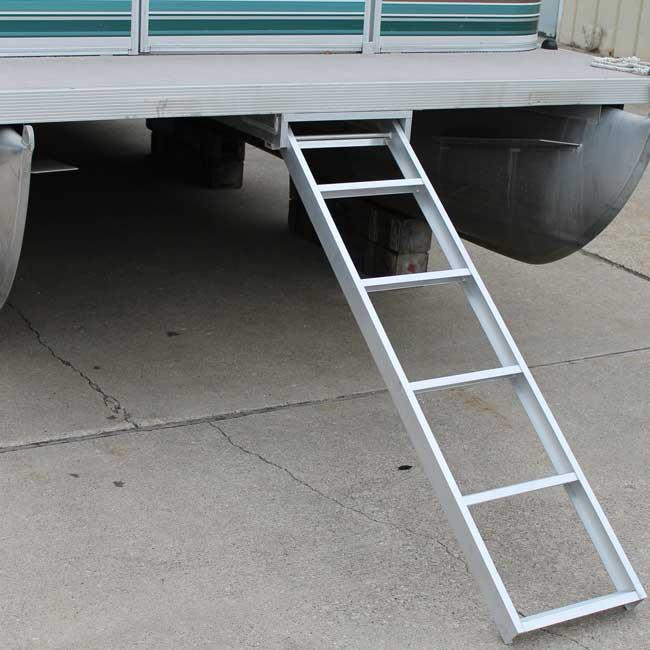 Under deck pontoon boat ladders