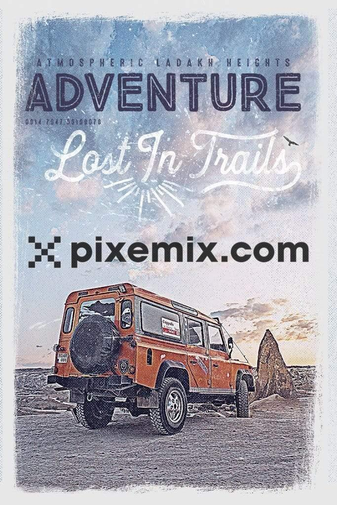 Outdoor adventure SUV product graphic with distress effect