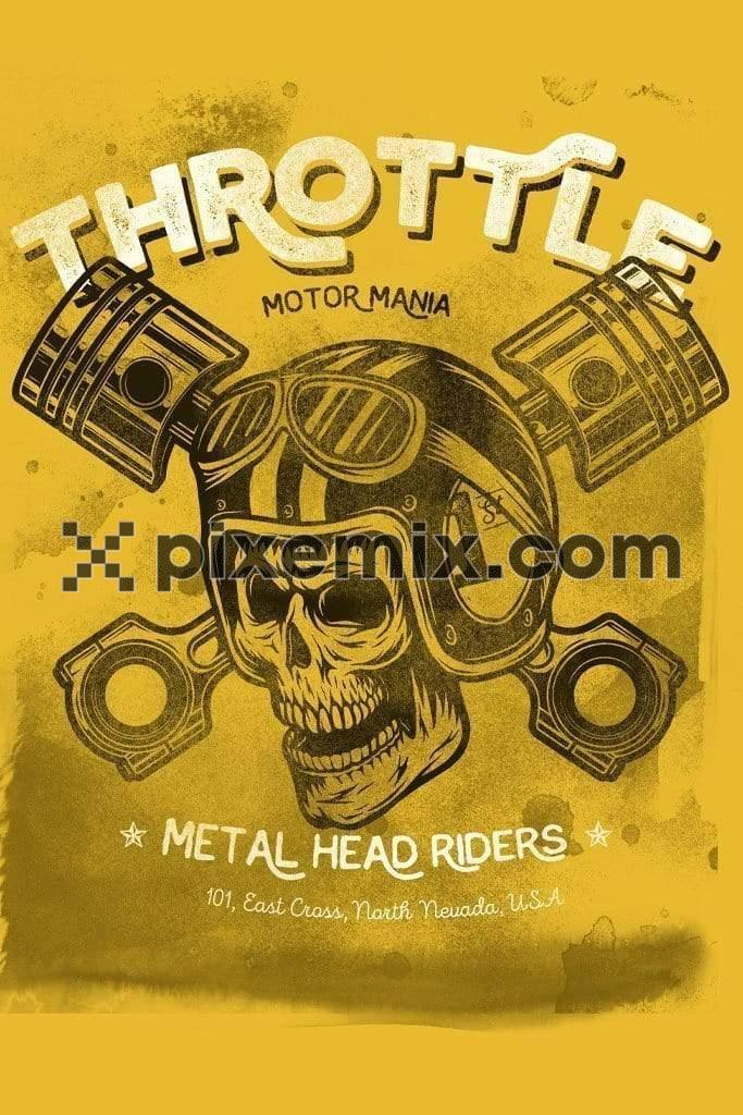 Vintage skull motorcycling product graphic with distress effects