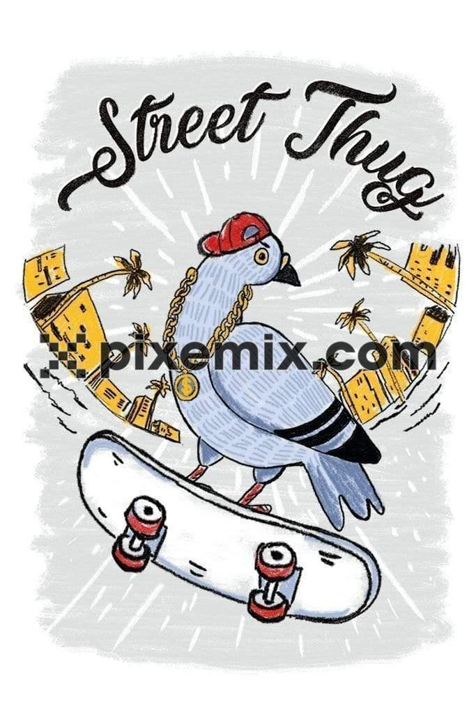 Street thug pigeon skater product graphic