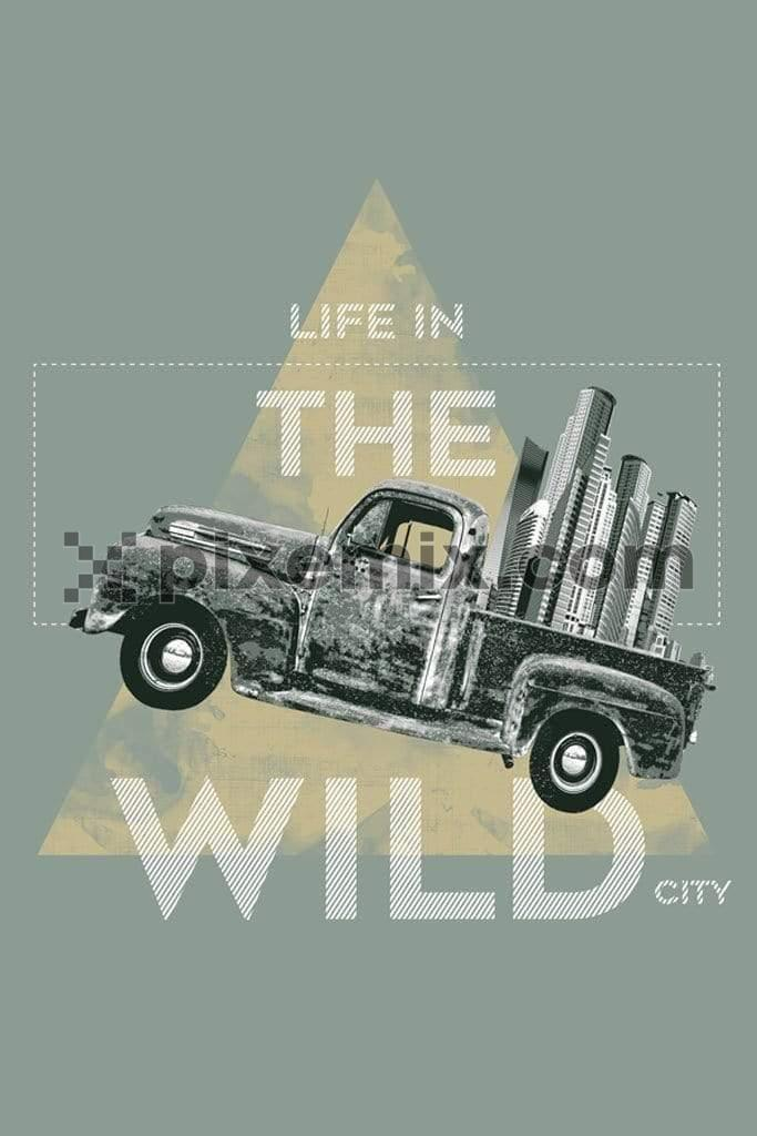 Vintage city truck product graphic