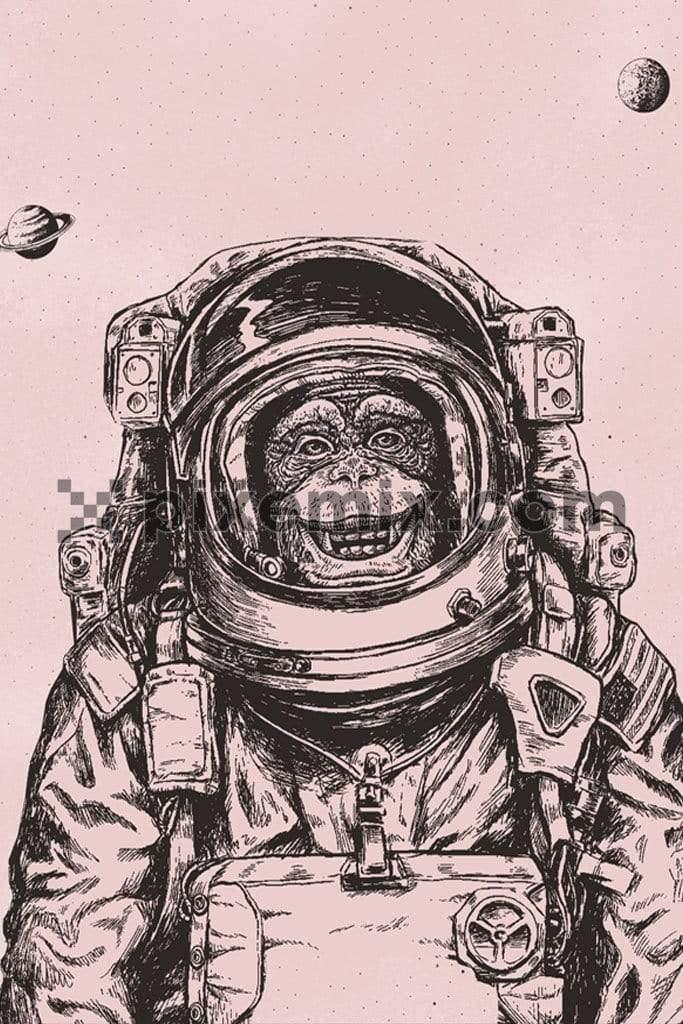 Astronaut monkey hand art quirky product graphic