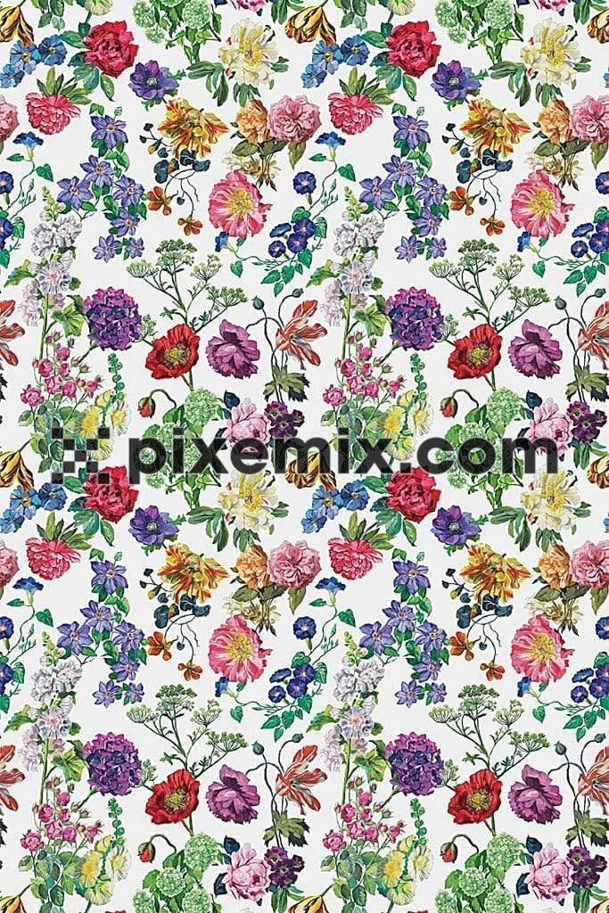 Multicoloured digital floral product graphic with seamless repeat pattern