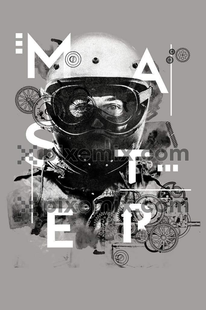Vintage motorcycling gear product graphic with distress effect