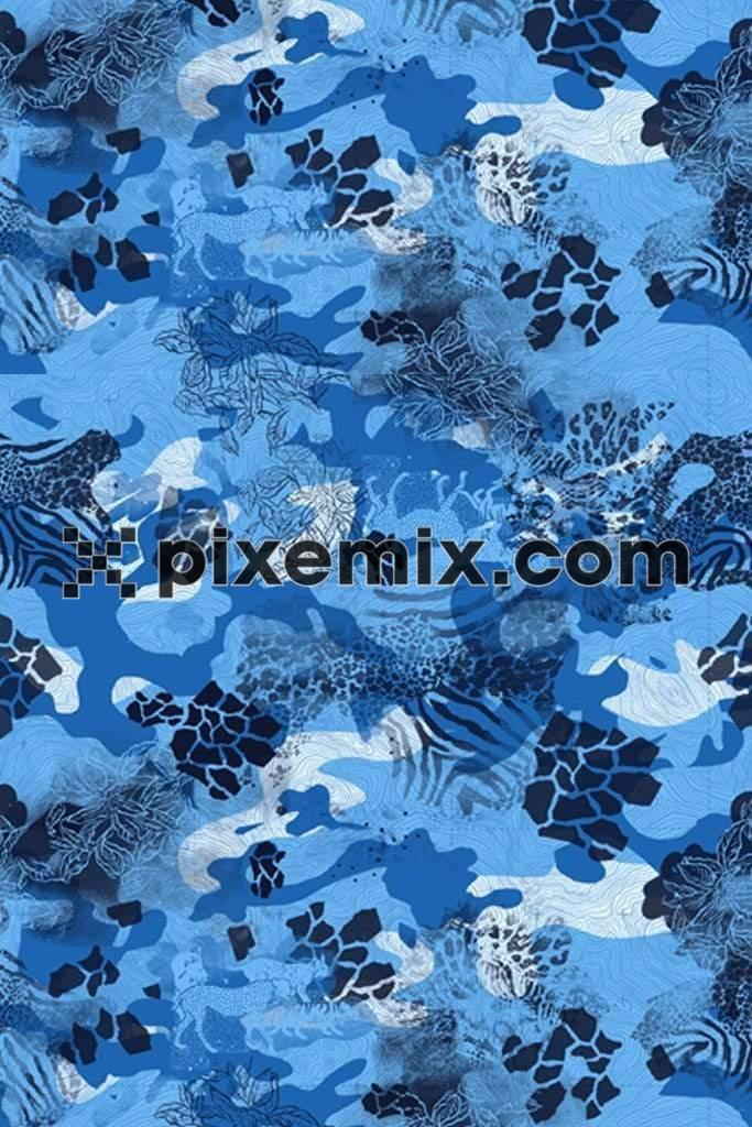 Remixed abstract camo pattern product graphic with distress effect