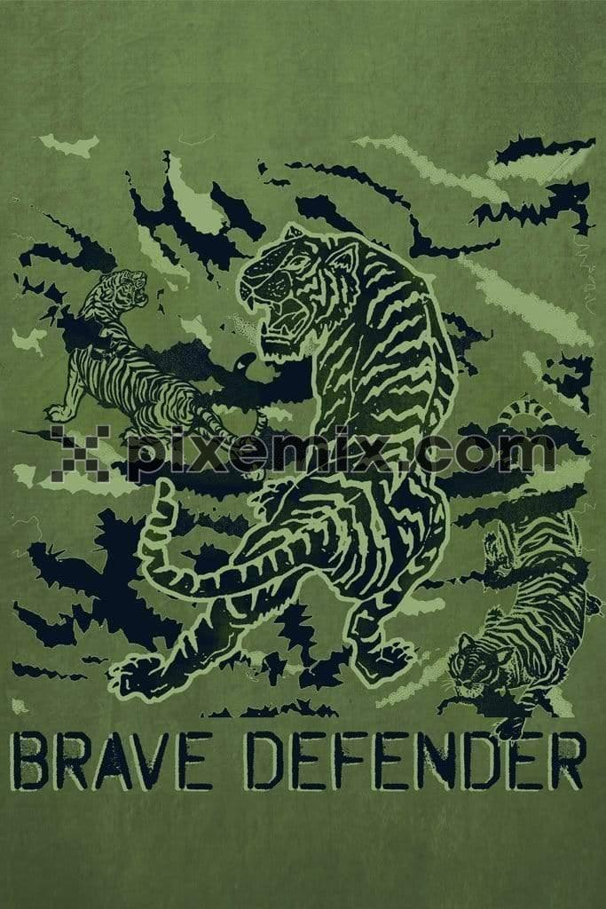 Camo tiger industrial product graphic