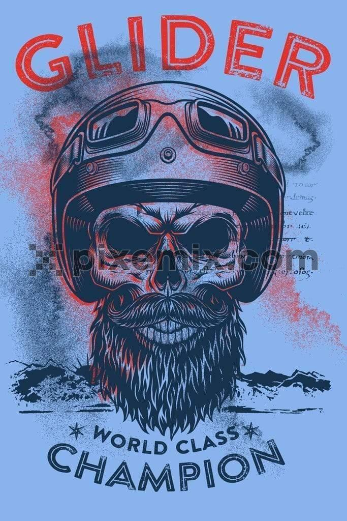 Bearded skull biker product graphic with distress effects