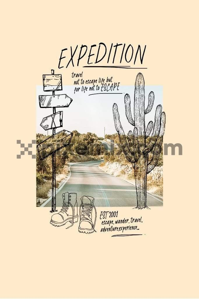 Outdoor adventure photo doodled product graphic