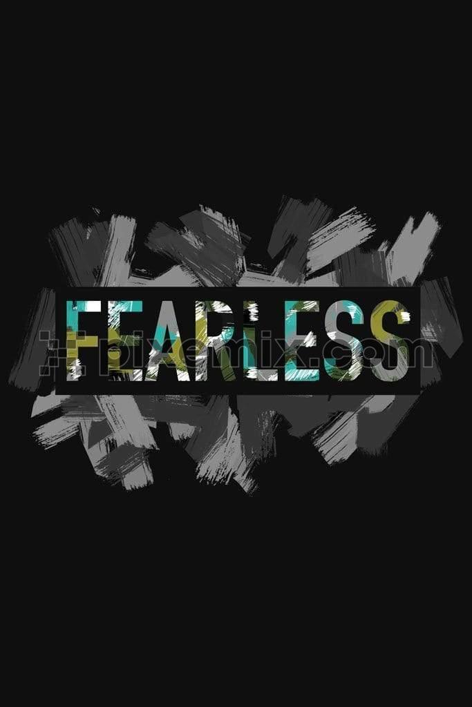 Fearless brushed camo typography product graphic