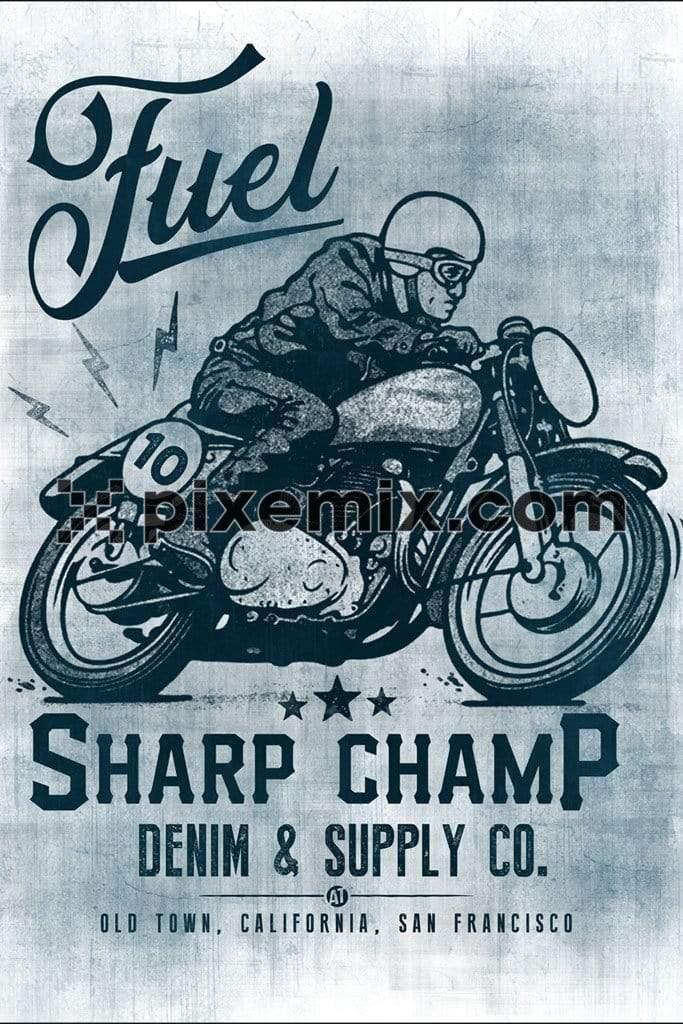Vintage motorbiking product graphic with distress effect