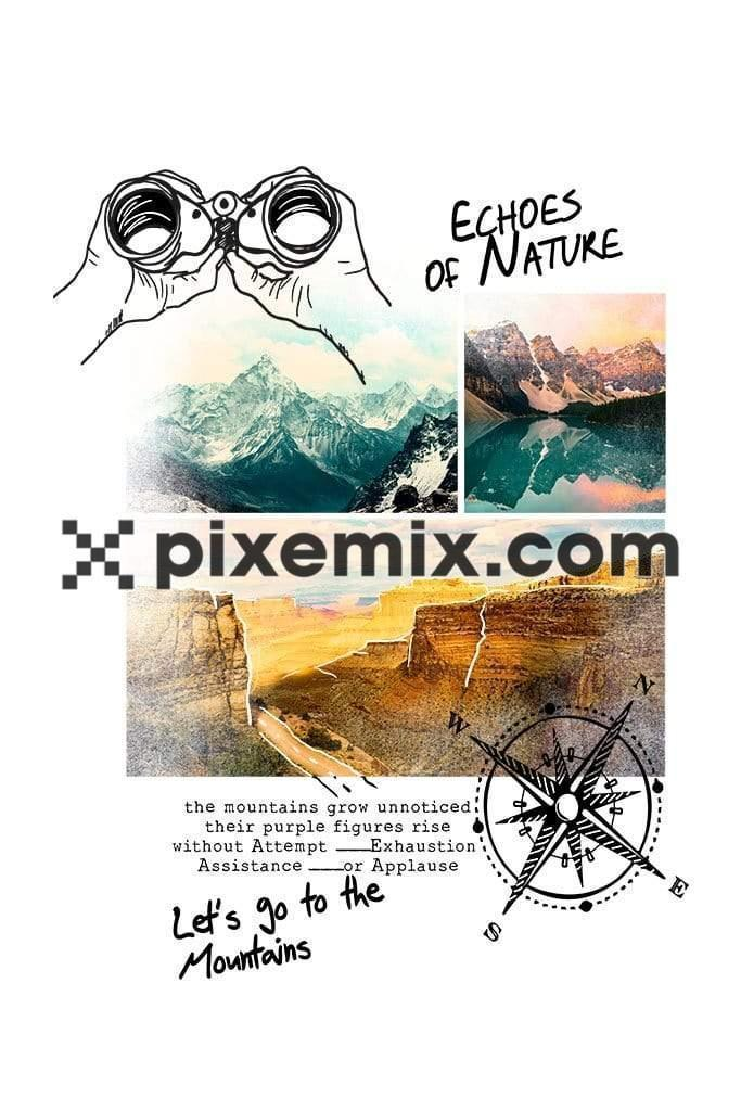 Photo doodled outdoor exploration product graphic