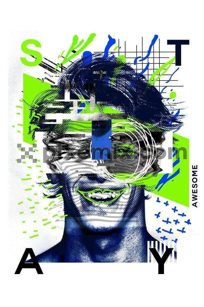 Abstract man face puzzle product graphic