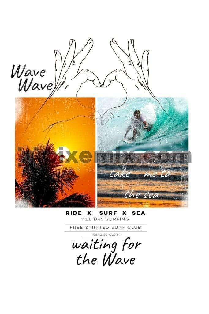 Photo doodled  beach surfing product graphic
