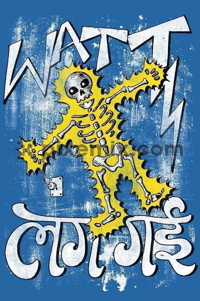 Electric shocked skeleton indian humour product graphic with typography