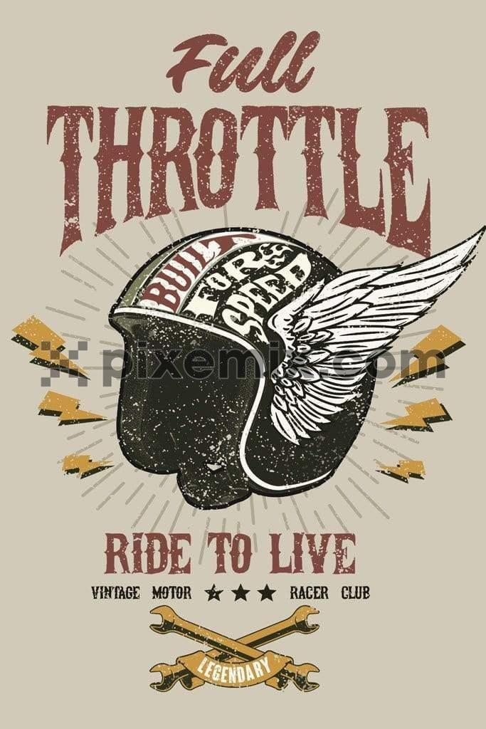 Vintage poster inspired motorcycling product graphic with distress effects