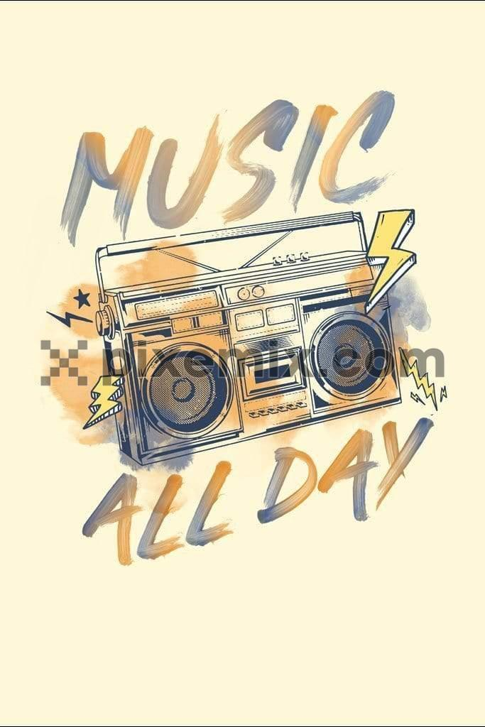 Vintage boombox product graphic with water color effect typography