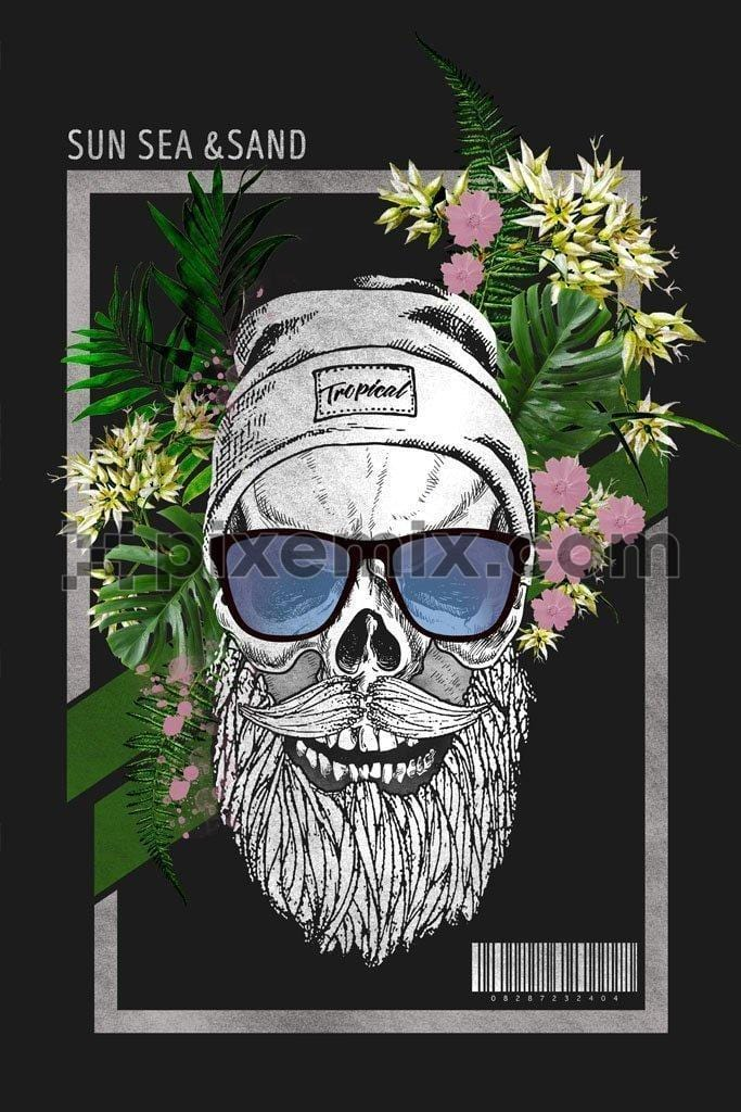 Tropical bearded skull product graphic