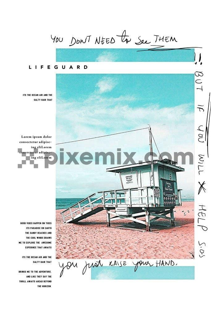 Beach lifeguard digital product graphic